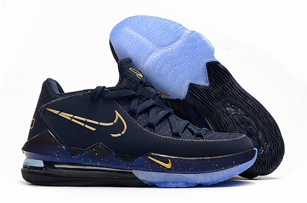 Nike Lebron James 17 Air Cushion Low Shoes Dark Blue Gold