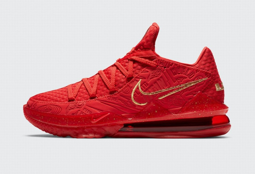 Nike Lebron James 17 Air Cushion Low Shoes Red Gold