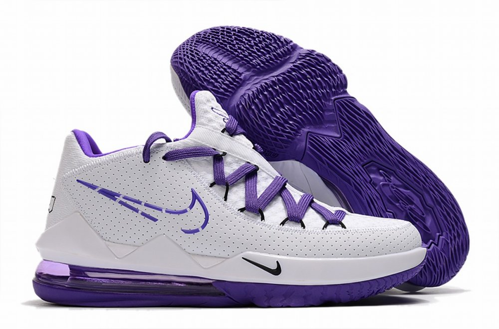 Nike Lebron James 17 Air Cushion Low Shoes White Purple