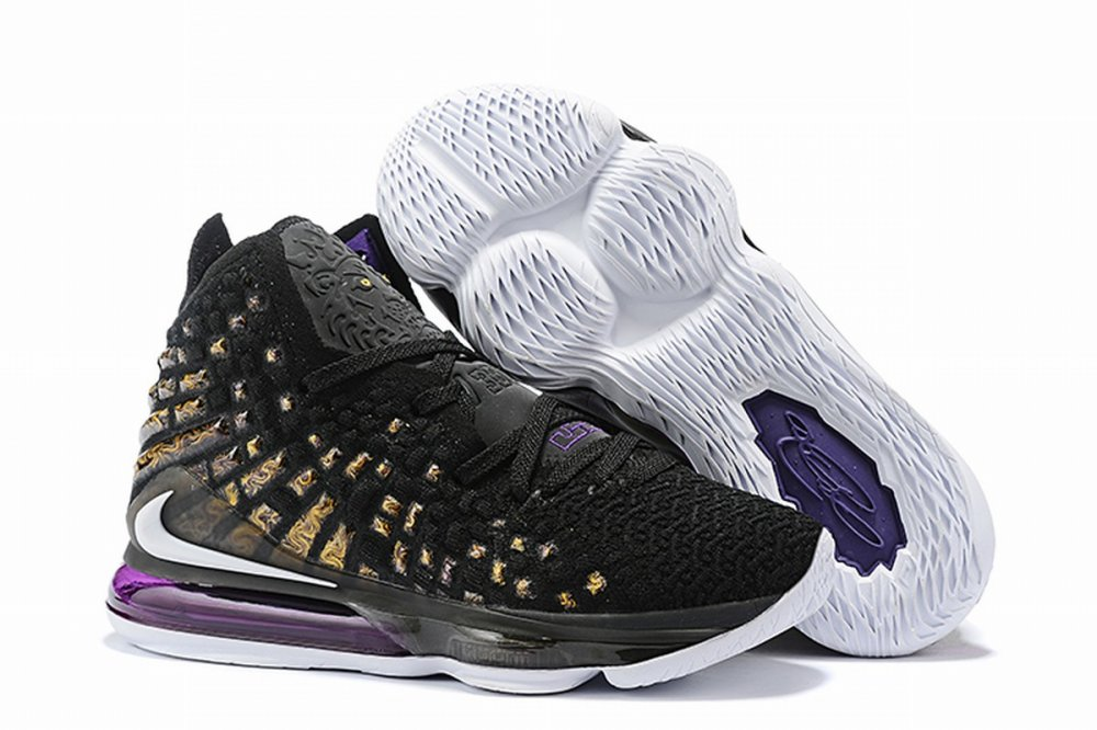 Nike Lebron James 17 Air Cushion Shoes Black Purple Gold